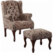 Coaster Queen Anne Button Tufted Wing Accent Chair with Ottoman in Chenille Fabric