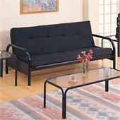Coaster Metal Full Size Futon Frame with Large Armrest in Black