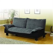 Coaster Convertible Microfibre Sofa Bedin Gray and Black