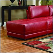 Coaster Kayson Contemporary Square Bonded Leather Ottoman in Red