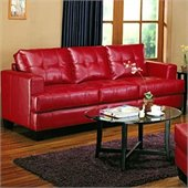 Coaster Samuel Modern Tufted Sofa in Red Bonded Leather