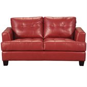Coaster Samuel Modern Tufted Love Seat in Red Bonded Leather