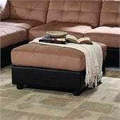 Coaster Tufted Square Microfiber Ottoman in Brown