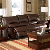 Coaster Clifford Double Reclining Sofa in Brown Leather Match