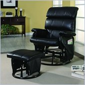 Coaster Deluxe Steel Frame Glider Rocker and Ottoman in Black