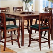 Coaster Newhouse Square Counter Height Dining Table with Lazy Susan in Cherry