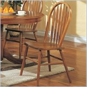 Coaster Mackinaw High Back Windsor Side Chair in Medium Warm Oak