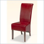 Coaster Bycast Vinyl Rolled Back Parson Dining Chair in Burgundy