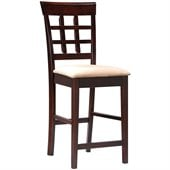 Coaster Hyde 24 Wheat Back Bar Stool with Fabric Seat in Cappuccino