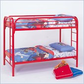 Coaster Toby Twin over Twin Metal Bunk Bed in Red Finish
