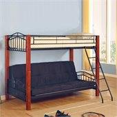 Coaster Jonathan Wood and Metal Twin over Futon Bunk Bed in Black Finish