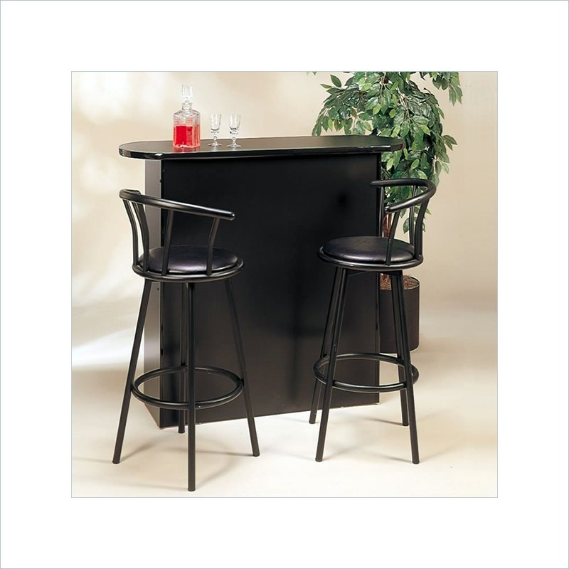 Coaster Buckner Casual Style Home Bar Unit in Black