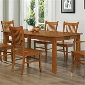 Coaster Meadowbrook Rectangular Leg Dining Table in Warm Medium Brown