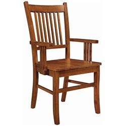 Coaster Meadowbrook Slat Back Mission Arm Dining Chair in Warm Medium Brown