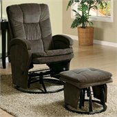 Coaster Recliners with Ottomans Reclining Glider in Chocolate Chenille