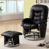 Coaster Recliners with Ottomans Casual Glider Recliner Chair in Black Leatherette
