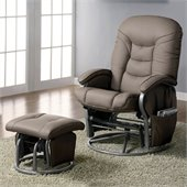 Coaster Recliners with Ottomans Casual Glider Recliner Chair in Beige Leatherette