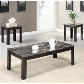Coaster 3 Piece Occasional Table Sets Coffee and End Table Set with Marble-Look Top