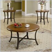 Coaster 3 Piece Occasional Table Sets Round Coffee and End Table in Cherry