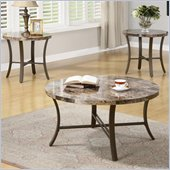 Coaster 3 Piece Occasional Table Sets with Marble Looking Top