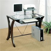 Coaster Division Table Desk with Glass Top in Cappuccino Finish