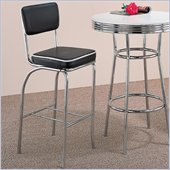 Coaster Cleveland Chrome Plated Bar Stool with Black Cushion
