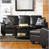 Coaster Java Contemporary Sofa in Rich Black Bonded Leather