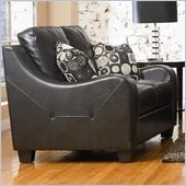 Coaster Java Contemporary Love Seat in Rich Black Bonded Leather