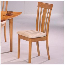 Coaster Davie Vertical Splat Dining Chair with Fabric Seat in Warm Natural