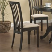Coaster Brannan Slat Back Side Chair with Upholstered Seat in Rich Cappuccino