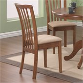 Coaster Brannan Slat Back Side Chair with Upholstered Seat in Warm Maple Finish