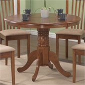 Coaster Brannan 40 Round Single Pedestal Dining Table in Maple Finish