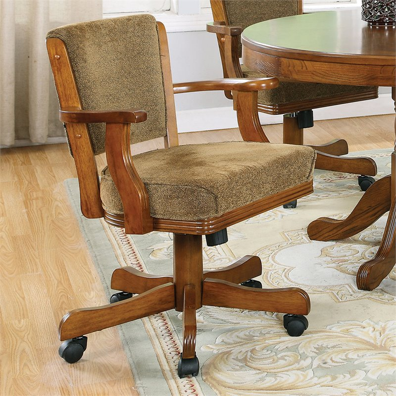 Coaster Mitchell Upholsted Arm Game W Casters Oak Poker