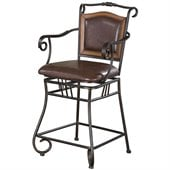 Coaster 24 Inch Metal Bar Stool with Upholstered Seat