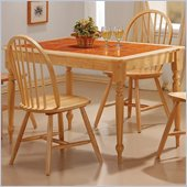 Coaster Damen Rectangle Tile Top Dining Table in Warm Natural Wood