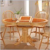 Coaster Damen Oval Tile Top Pedestal Table with Leaf in Warm Natural Wood Finish