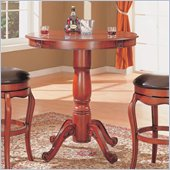 Coaster Harrison Bar Table with Traditional Pedestal Base in Warm Cherry Finish