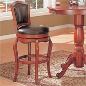 Coaster Harrison 29 Inch Swivel Faux Leather Bar Stool in Warm Cherry Finish