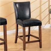 Coaster Telegraph 24 Inch Brown Bar Stool with Black Faux Leather Seat