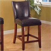 Coaster Telegraph 24 Inch Brown Bar Stool with Brown Faux Leather Seat