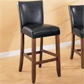 Coaster Telegraph 29 Inch Black Bar Stool with Brown Faux Leather Seat