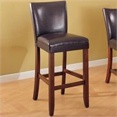 Coaster Telegraph 29 Inch Brown Bar Stool with Black Faux Leather Seat