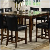 Coaster Telegraph Square Marble Look Counter Height Dining Table in Medium Brown