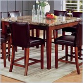 Coaster Telegraph Square Marble Counter Height Dining Table in Medium Brown