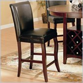 Coaster Newhouse 24 Inch Bar Stool with Black Faux Leather in Cherry Finish