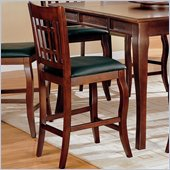 Coaster Newhouse 24 Inch Bar Stool with Grid Back Black Faux Leather in Cherry