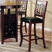 Coaster Newhouse 29 Inch Bar Stool with Grid Back Black Faux Leather in Cherry