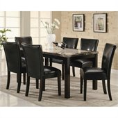 Coaster Carter Rectangular Leg Dining Table with Faux Marble Top