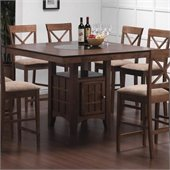 Coaster Hyde Counter Height Dining Table with Storage in Walnut