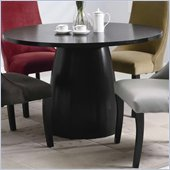Coaster Amhurst Single Pedestal Round Dining Table in black Satin Finish